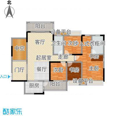 深业半山小腕139.70㎡D户型四房二厅二卫139.7户型4室2厅2卫
