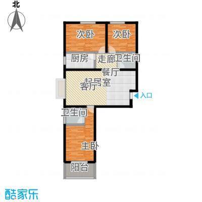 阳光绿城109.86㎡F户型三室两厅两卫户型3室2厅2卫
