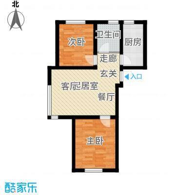 伯爵源筑81.37㎡11号楼A户型两室两厅一卫户型QQ
