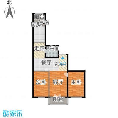 畅心园3号楼G户型112.26平方米户型2室1厅1卫
