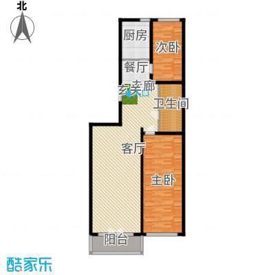 畅心园122.27㎡3号楼F户型122.27平方米户型2室1厅1卫