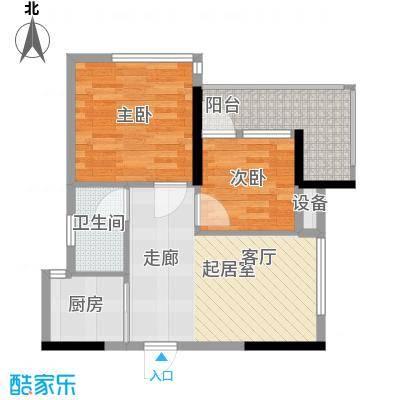 惠恺新时代55.57㎡B户型2室1厅1卫户型2室1厅1卫