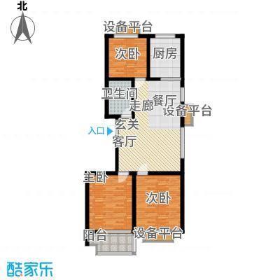 盛海第一园100.31㎡C户型 三室两厅一卫户型3室2厅1卫