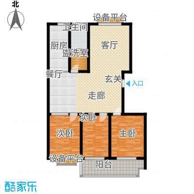 盛海第一园131.05㎡4号楼标准层 D户型 3室2厅1卫户型3室2厅1卫