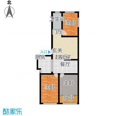 骏龙花园125.50㎡D户型 三室两厅一卫户型3室2厅1卫