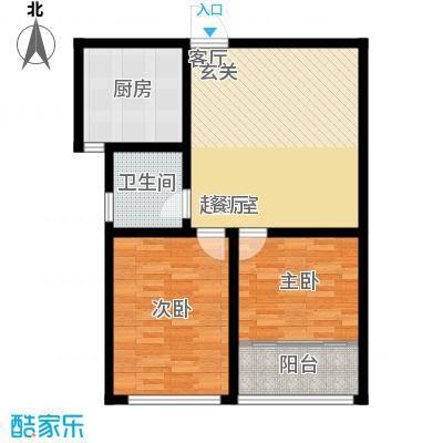骏龙花园75.00㎡B户型 两室两厅一卫户型2室2厅1卫