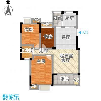 御景华府107.00㎡6、8、11号楼B户型 三房二厅一卫户型