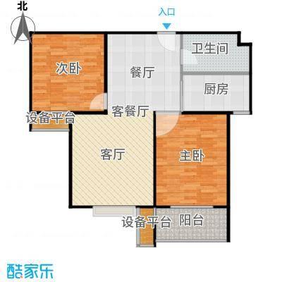 盛和嘉园87.00㎡22楼D-2户型 两室两厅一卫户型2室2厅1卫
