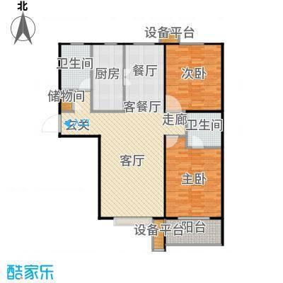 盛和嘉园115.00㎡21,23楼C-3 两室两厅两卫户型2室2厅2卫