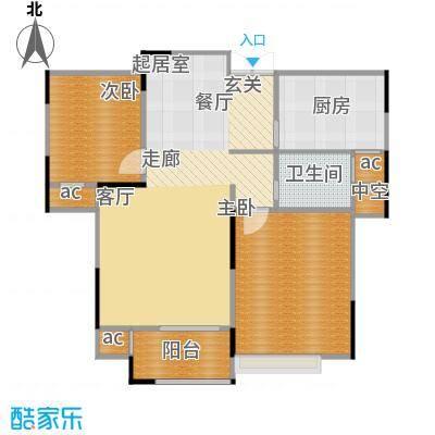 金色阳光二期88.94㎡高层J户型 两室两厅一卫户型2室2厅1卫