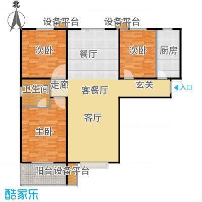 盛和嘉园130.00㎡18楼E-1户型 三室两厅两卫户型3室2厅2卫
