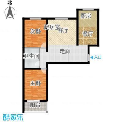朗月蓝庭105.00㎡E户型两室两厅一卫户型2室2厅1卫