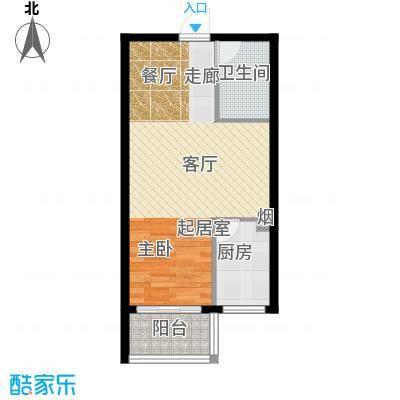 朗月蓝庭55.00㎡G户型一室两厅一卫户型1室2厅1卫
