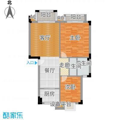 汉口春天(三期)89.09㎡房型: 二房; 面积段: 89.09 -93 平方米;户型