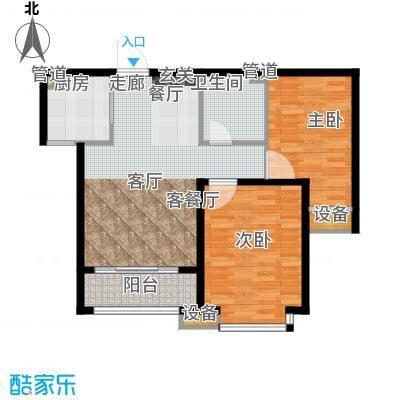 鑫丰近水庭院82.44㎡B-02户型两室两厅一卫户型2室2厅1卫