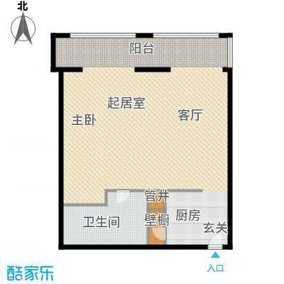 中山路5号商务公馆125.00㎡一室一厅一卫户型1室1厅1卫