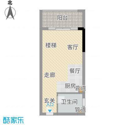 汇泰锦城45.55㎡单身公寓首层户型1室1厅