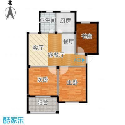 东海明园83.02㎡9#楼02户型3室2厅1卫