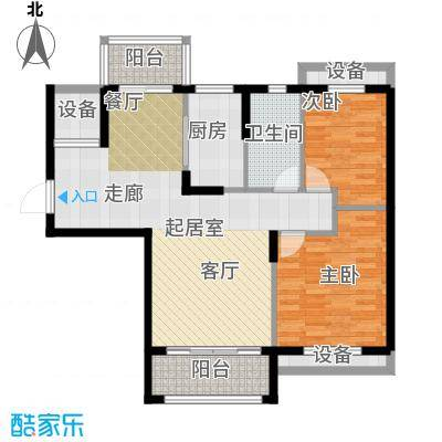 保利鑫城88.00㎡二室二厅一卫 面积:88平米户型2室2厅1卫
