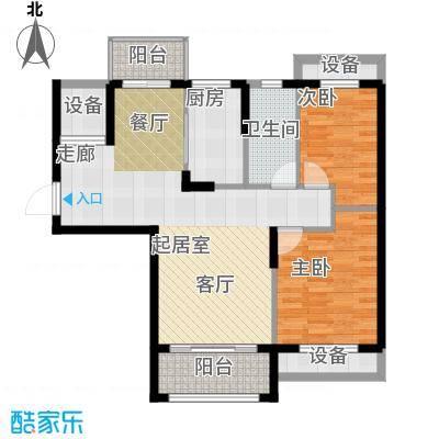 保利鑫城87.00㎡二室二厅一卫 面积:87平米户型2室2厅1卫