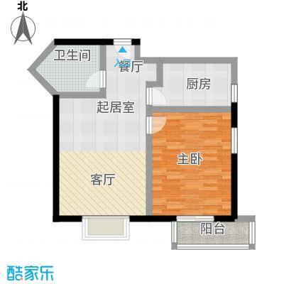 伊顿玫瑰公寓D型 一室两厅一卫户型