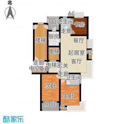 鲁商中心156.00㎡1号楼A户型三室两厅两卫户型3室2厅2卫