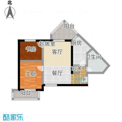 伊顿玫瑰公寓A型 两室两厅一卫户型