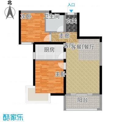 南昌万达城80.00㎡D区住宅A1户型2室2厅1卫
