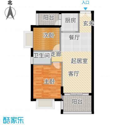 胜球阳光花园三期78.00㎡B户型2室2厅1卫