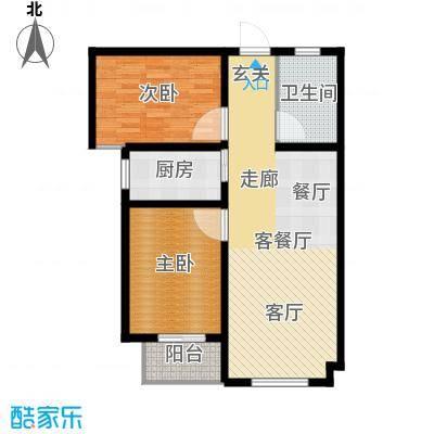 直隶尚都88.47㎡B-两室一厅一卫户型2室1厅1卫