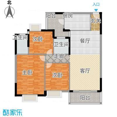 鹿茵华庭139.00㎡139平米三房户型3室2厅2卫