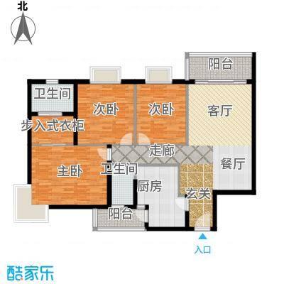 鹿茵华庭130.00㎡130平米三房户型3室2厅2卫