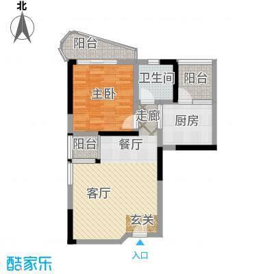 鹿茵华庭67.00㎡67平米一房二厅一卫户型1室2厅1卫