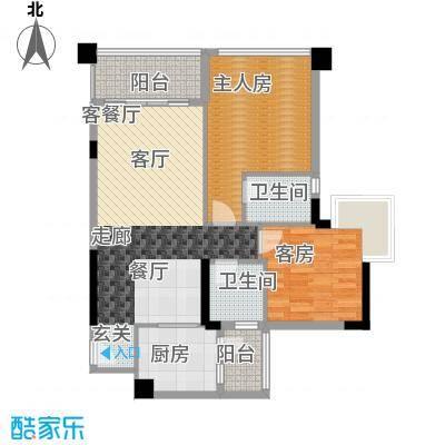 盈悦豪庭87.00㎡B型03房户型2室2厅2卫X