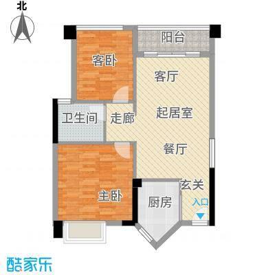 盈悦豪庭69.00㎡B型04房户型2室2厅1卫QQ