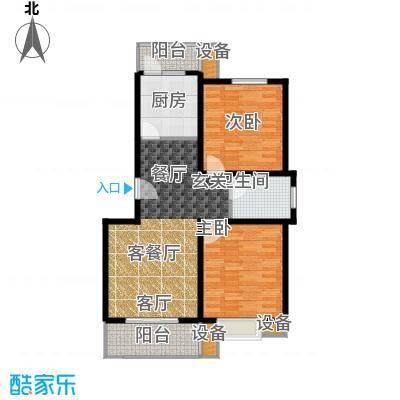 城置国际花园城88.01㎡二房,84.77-88.01平方米户型2室2厅1卫