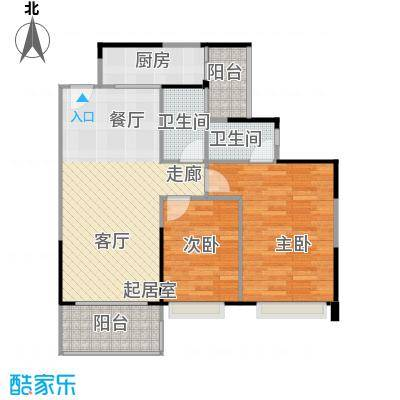 纯水岸89.88㎡13栋04户型2室2厅2卫