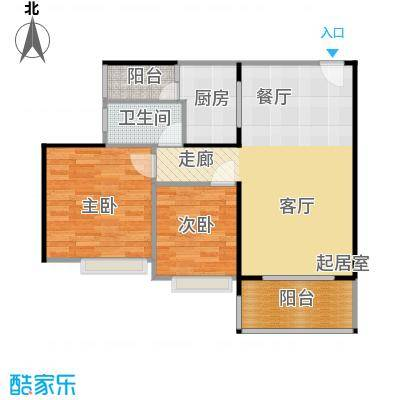 纯水岸89.64㎡7栋04户型2室2厅1卫