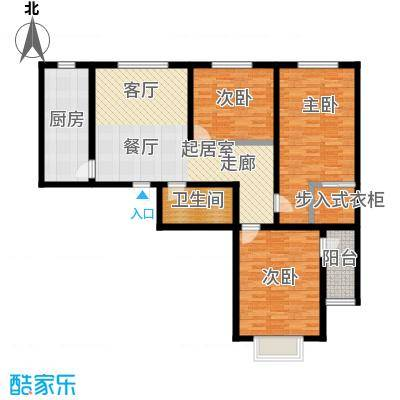 吉隆公寓111.92㎡F三室一厅一卫户型3室1厅1卫