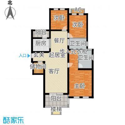 加州玫瑰园3室2厅2卫133.6平方户型图普通户型QQ