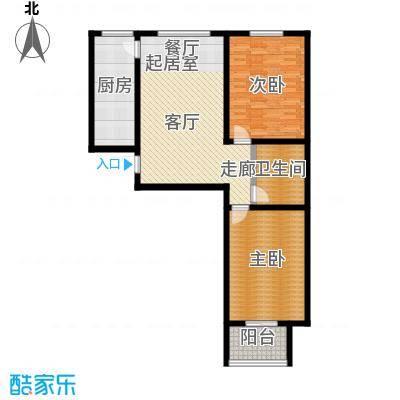 文津花园101.00㎡C-1户型两室两厅一卫户型2室2厅1卫