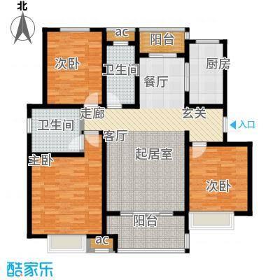 开源金桂花园户型3室2卫1厨