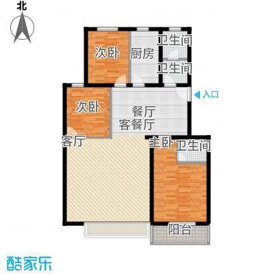 东湖庄园135.00㎡香榭丽户型三室两厅一卫户型3室2厅1卫