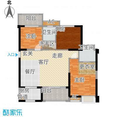 中骏四季阳光107.00㎡D户型三房两厅两卫 面积约107平户型3室2厅2卫