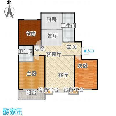 盛和嘉园137.00㎡20楼B户型 三室两厅两卫户型3室2厅2卫