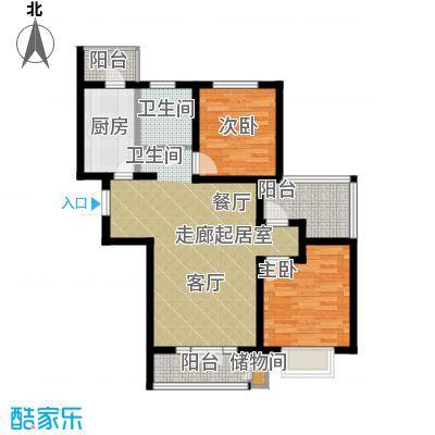 朝阳绿茵 朝阳上品98.55㎡16、21#楼B3户型2室2厅1卫