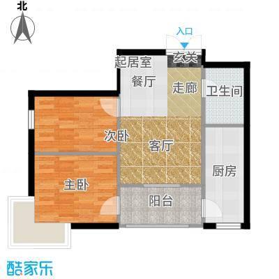 V时代I户型 两室一厅一卫户型2室1厅1卫