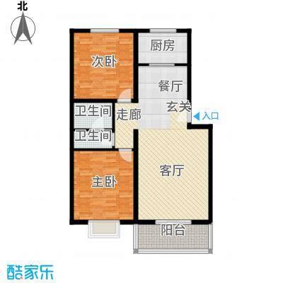 博雅A区104.14㎡1、8、9、10号N户型 两室两厅一卫户型2室2厅1卫