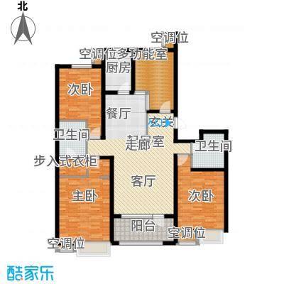 珠江道12号169.22㎡三室两厅两卫户型