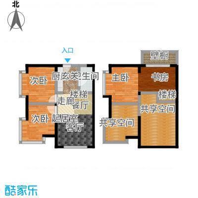 都市斓轩E-1户型3室2厅1卫80.58㎡户型